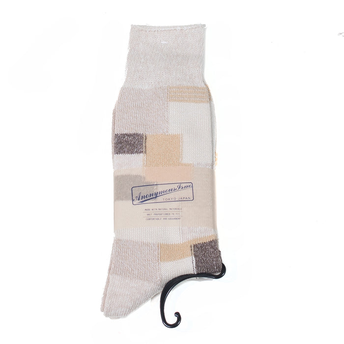 Anonymous ism - Beige Patchwork Socks
