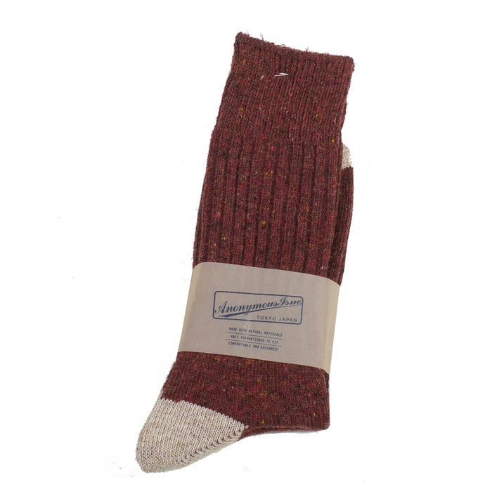 Anonymous ism - Wine Tweed Donegal Yarn Crew Socks