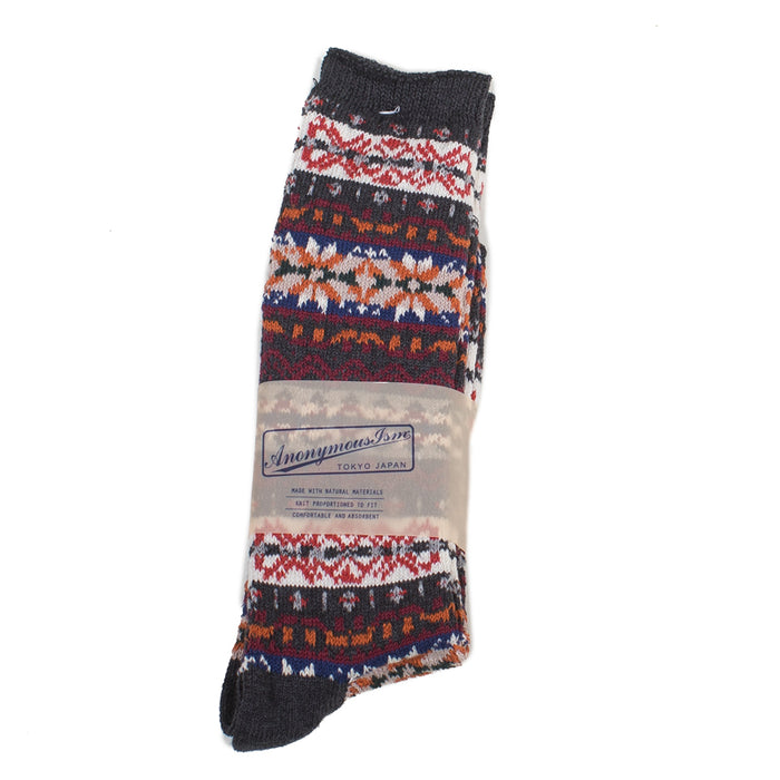 Anonymous ism - Chocolate Fairisle Crew Socks