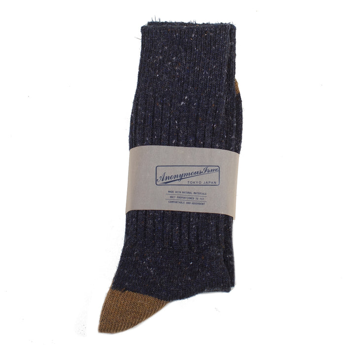 Anonymous ism - Navy Tweed Donegal Yarn Crew Socks