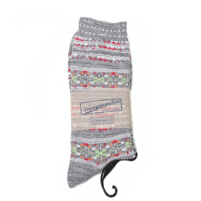 Anonymous ism - Grey Ethnic Border Socks