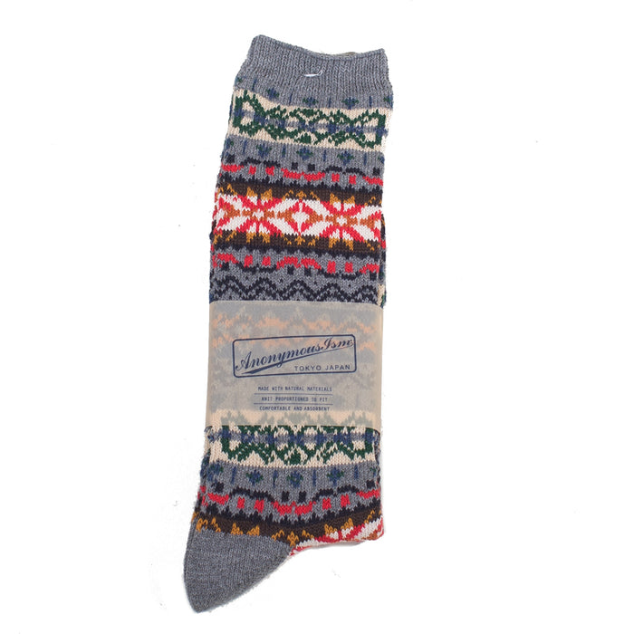 Anonymous ism - Grey Fairisle Crew Socks