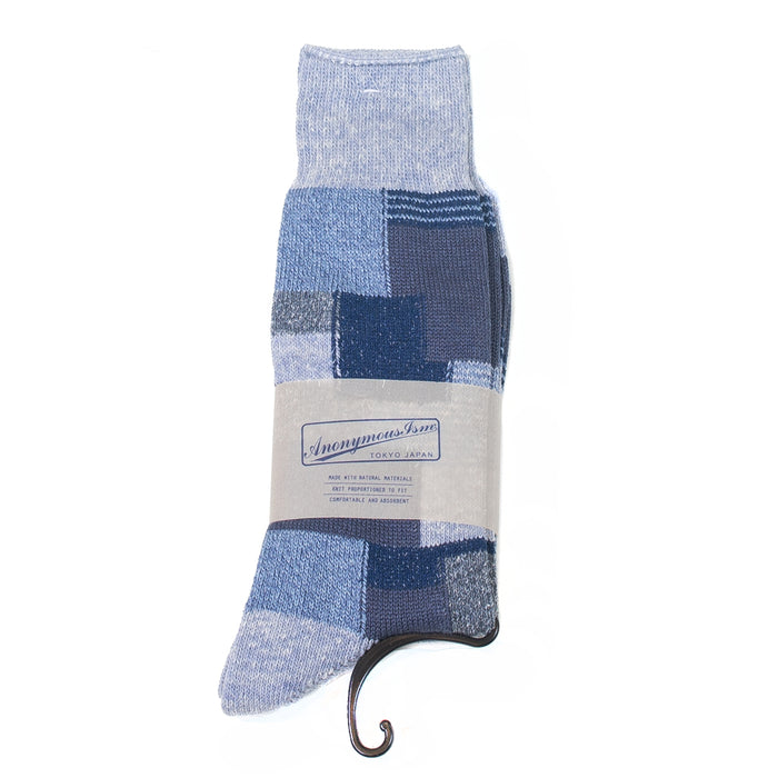 Anonymous ism - Navy Patchwork Socks