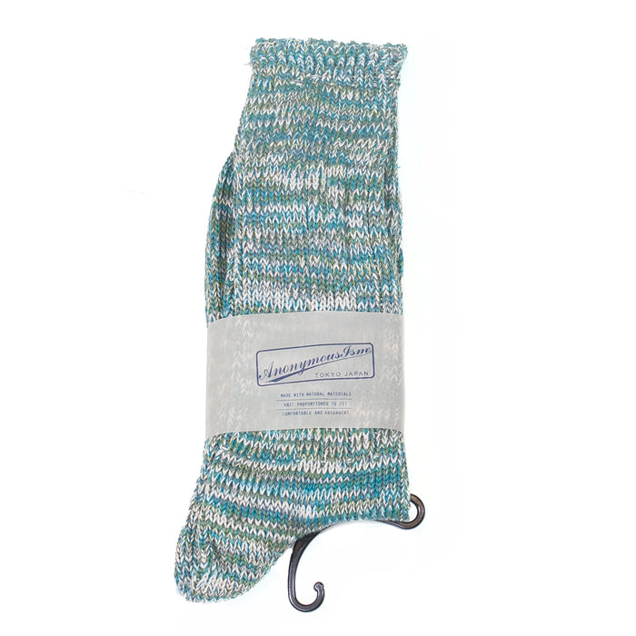 Anonymous ism - Teal, White, Green Slub Mix Socks