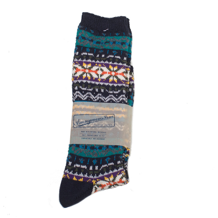 Anonymous ism - Navy Fairisle Crew Socks