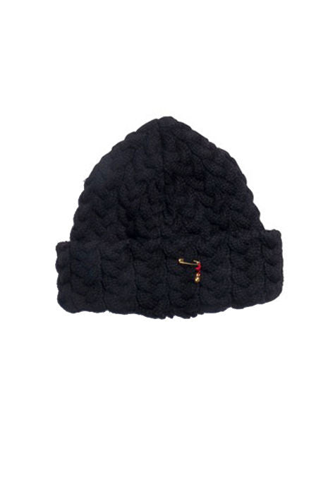 BLUE BLUE JAPAN - Black Chunky Cable Knit Hat