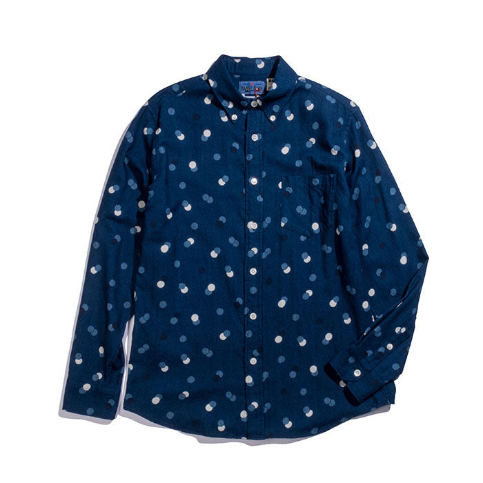 Blue Blue Japan - Bouncing Dot Indigo Twill Button Up Shirt