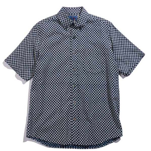 "Blue Blue Japan - INDIGO GAUZE SMALL CHECKERED ""BASSEN""  B.D. SS SHIRT"
