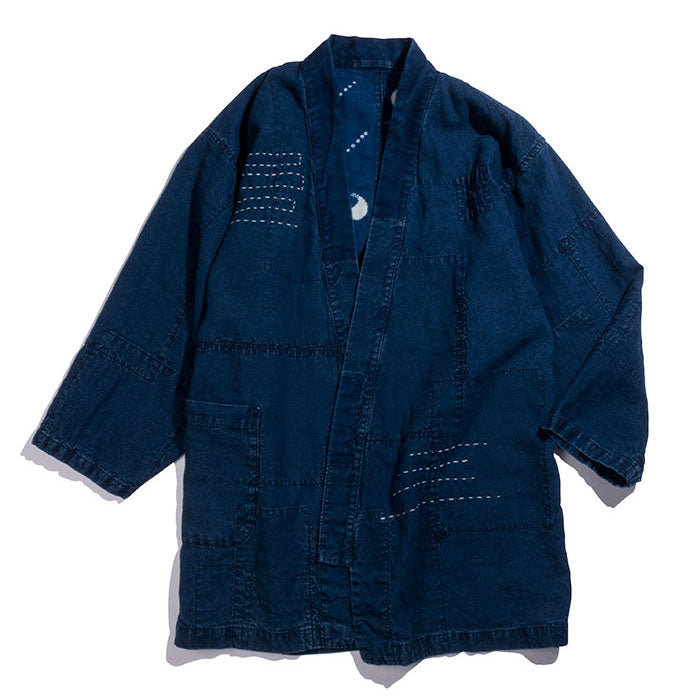 "Blue Blue Japan -  INDIGO LINEN LIGHT CANVAS PATCHWORK FARMER ""HAORI"" COAT"
