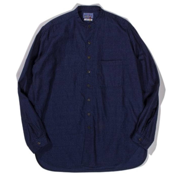 Blue Blue Japan -  Indigo Yarn Dyed Flannel Band Collar Button Up Shirt