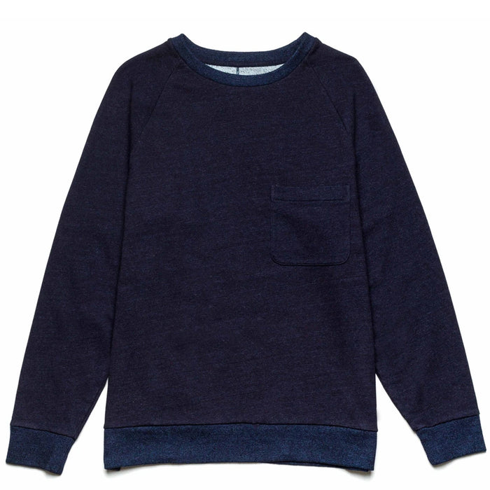 Blue Blue Japan -  Indigo Crewneck Indigo Dyed Split Back Sweater