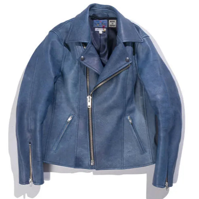 Blue Blue Japan -  Natural Indigo Dyed Sheepskin Double Riders Leather Jacket