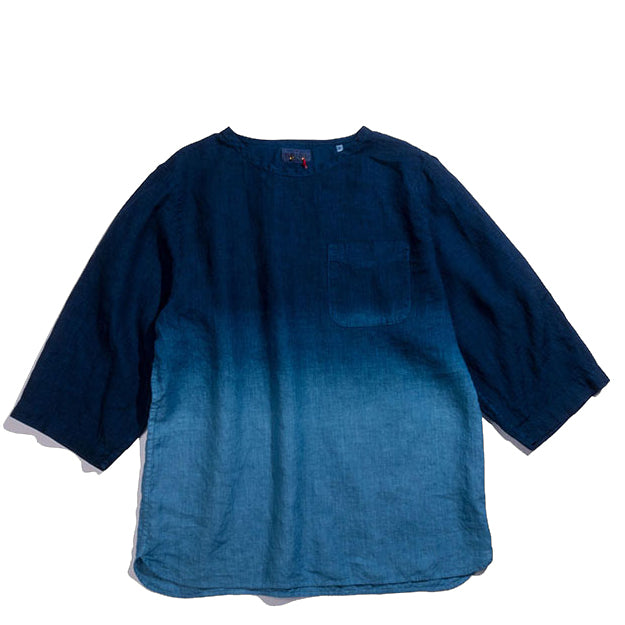 Blue Blue Japan - Linen PURE INDIGO GRADATION WIDE SLEEVE PULLOVER SHIRT