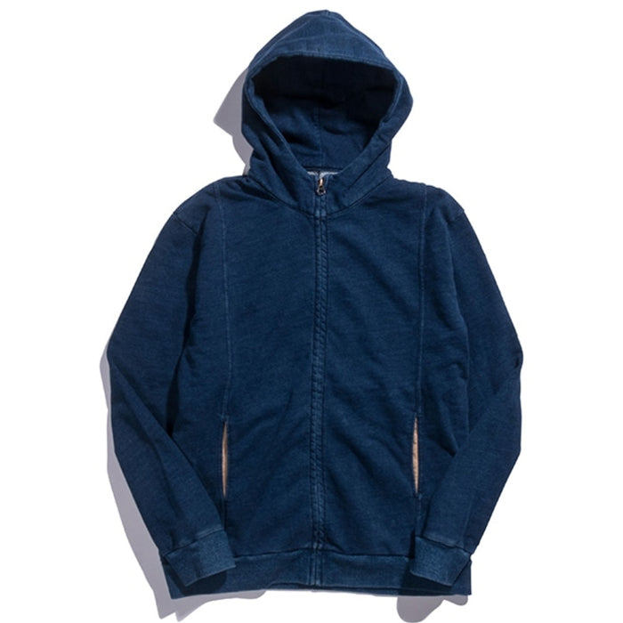 Blue Blue Japan -  Navy Zip Up Indigo Dyed Hoodie Sweater