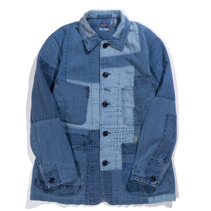 Blue Blue Japan -  INDIGO SASHIKO PATCHWORK COVERALL JACKET