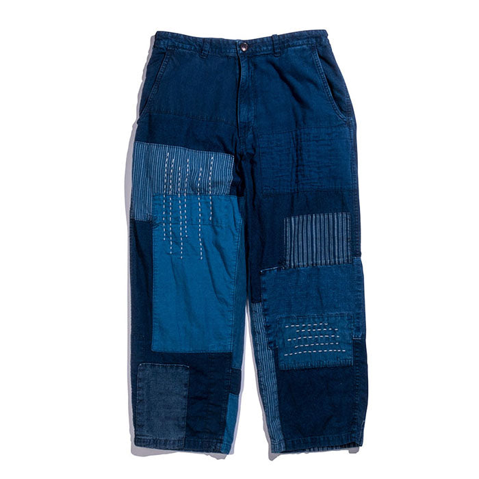 Blue Blue Japan - INDIGO LIGHT COTTON FLANNEL PATCHWORK 8 LENGTH RELAX PANTS