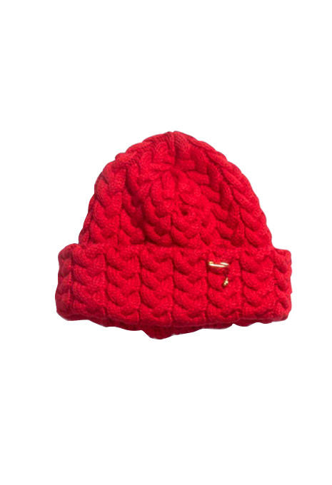 BLUE BLUE JAPAN - Red Chunky Cable Knit Hat