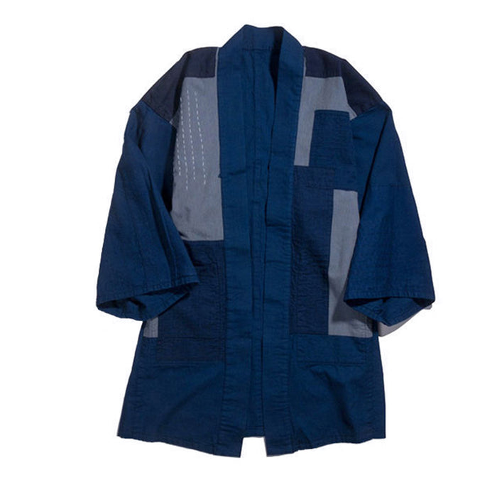 "Blue Blue Japan -  WOVEN INDIGO HAND-ME DOWN COTTON ""AWASE"" Reversible ""HAORI"" Coat"