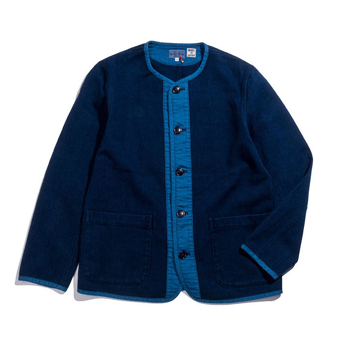 Blue Blue Japan - Pure Indigo Sashiko Collarless Jacket