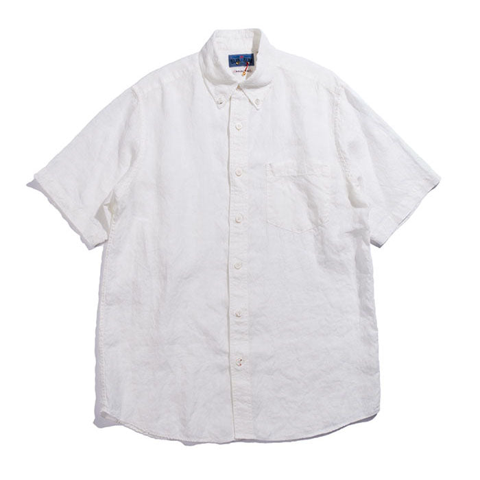 Blue Blue Japan - White Linen Button Down Short Sleeve SHIRT