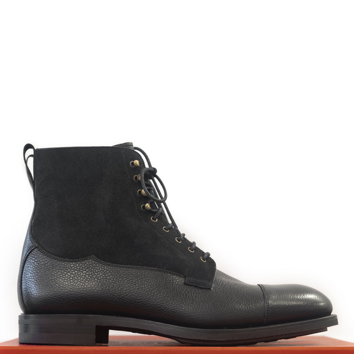 Carmina - Black Suede and Black Karangrein Field Boots Oscar Last