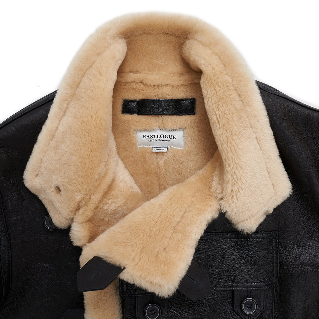 Eastlogue - SHEARLING Lined Leather MOTORCYCLE Jacket