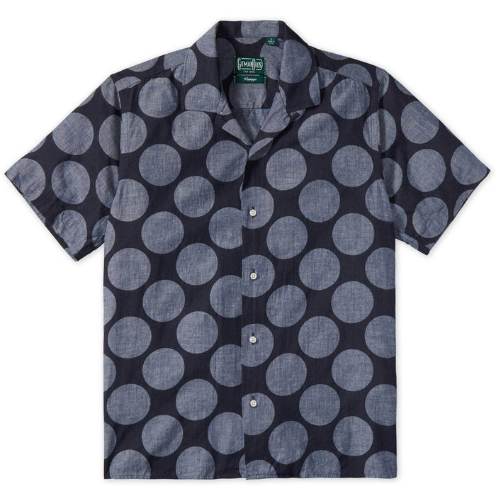 Gitman Vintage - Navy Dot Camp Button Up Shirt
