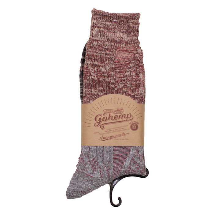 Anonymous ism - Red/Gray Go Hemp Cable Knit Crew Socks
