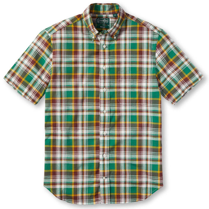 Gitman Vintage - Green and Brick Madras Button Up Shirt