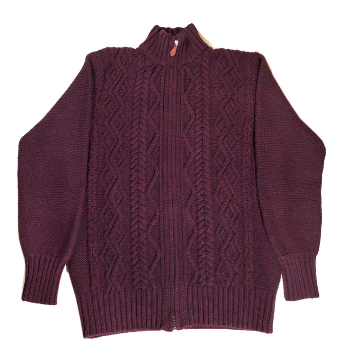 Inis Meáin - Bordeaux Aran Zipper Knit Sweater