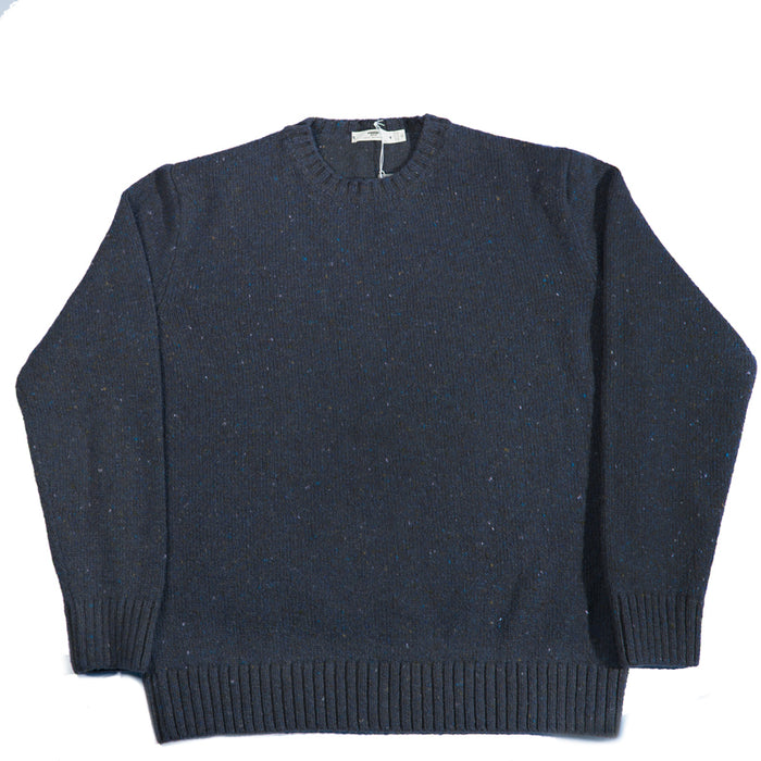 Inis Meáin - Blu Donegal C/N Plated Knit Sweater