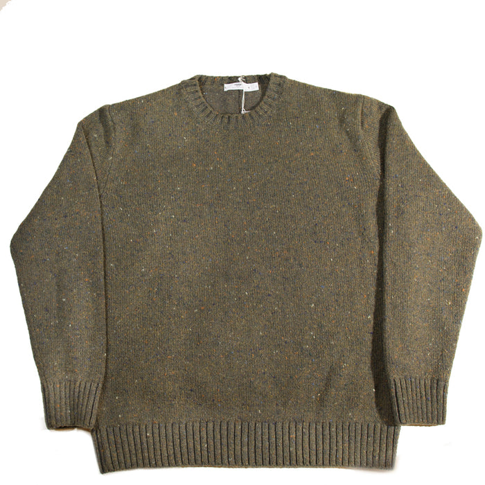 Inis Meáin - Loden Donegal C/N Plated Knit Sweater
