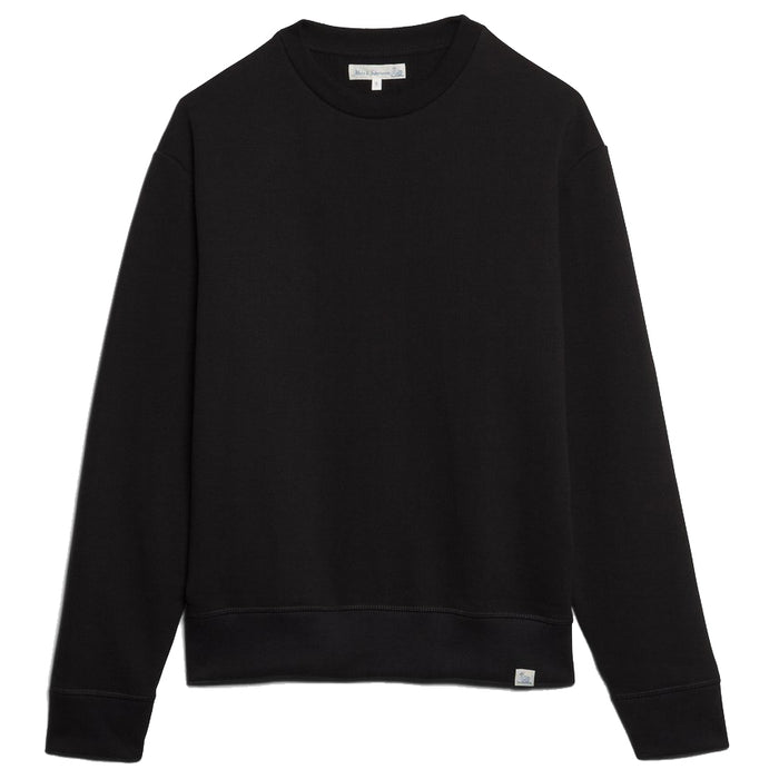 Merz B. Schwanen - Black 346OS Oversized Loopwheeled Crewneck Sweatshirt