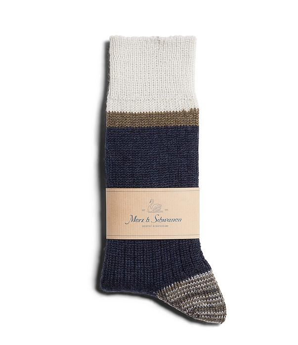 Merz B. Schwanen - Ink/Army Striped Sport Socks