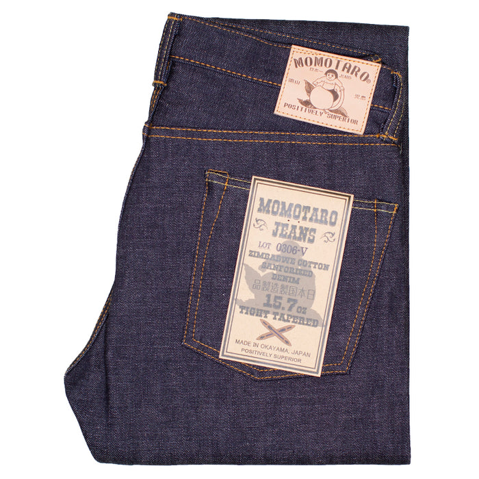 Momotaro - 0306-V 15.7oz Selvedge Denim - Tight Tapered Fit