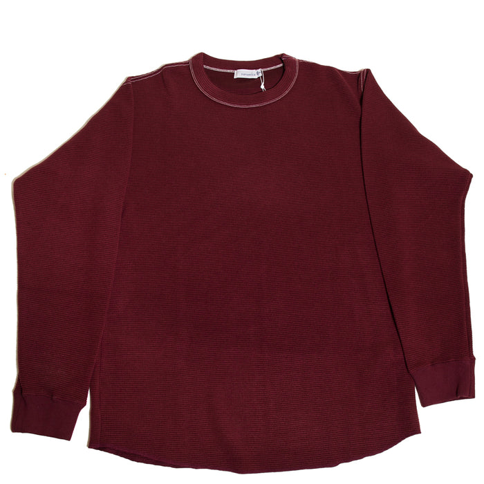 Nanamica - Burgundy Waffle Crew Neck L/S Shirt