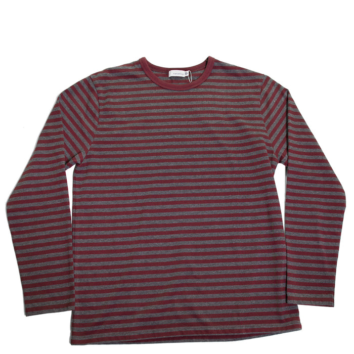 Nanamica - COOLMAX® Burgundy + Charcoal Jersey L/S Tee