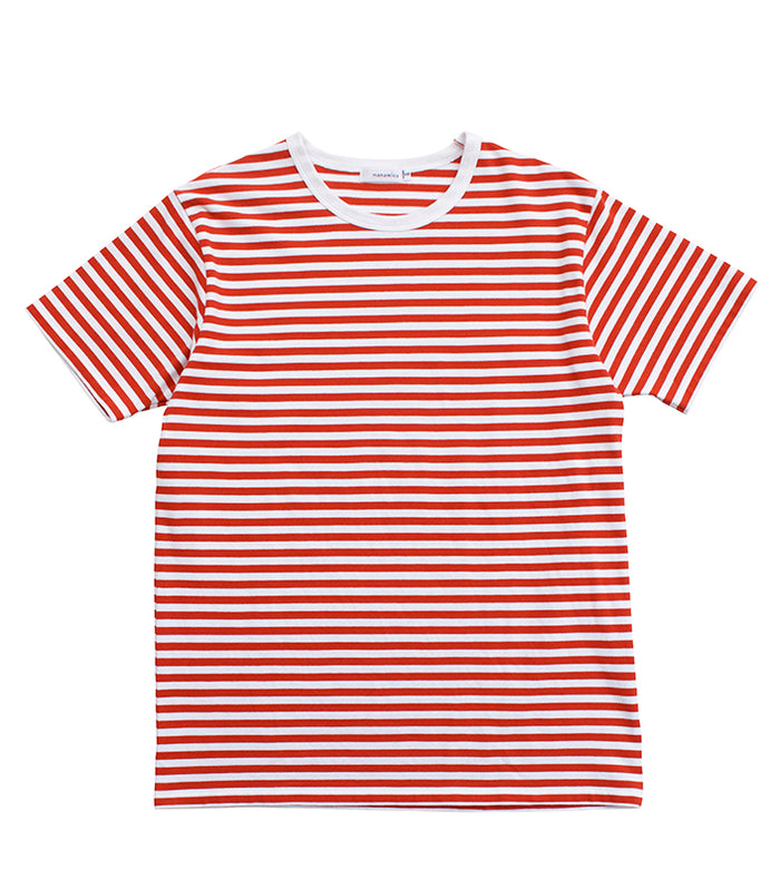 Nanamica - red and white Striped Cool Max T-Shirt