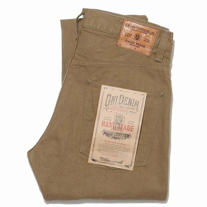 Oni Denim - 932HM-HOX-BRK Hand Made Relaxed Tapered Brown Khaki