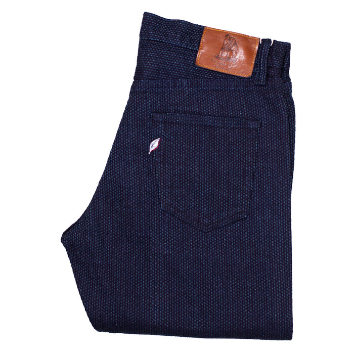 PURE BLUE JAPAN - DOUBLE INDIGO WOVEN SASHIKO RELAXED TAPERED DENIM
