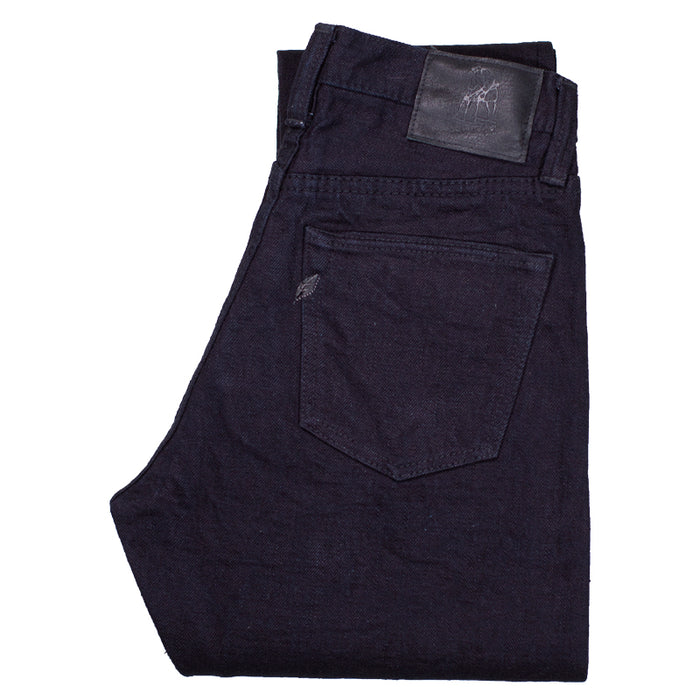 PURE BLUE JAPAN - XX-18oz-019 Indigo x Black 18OZ RELAXED TAPERED