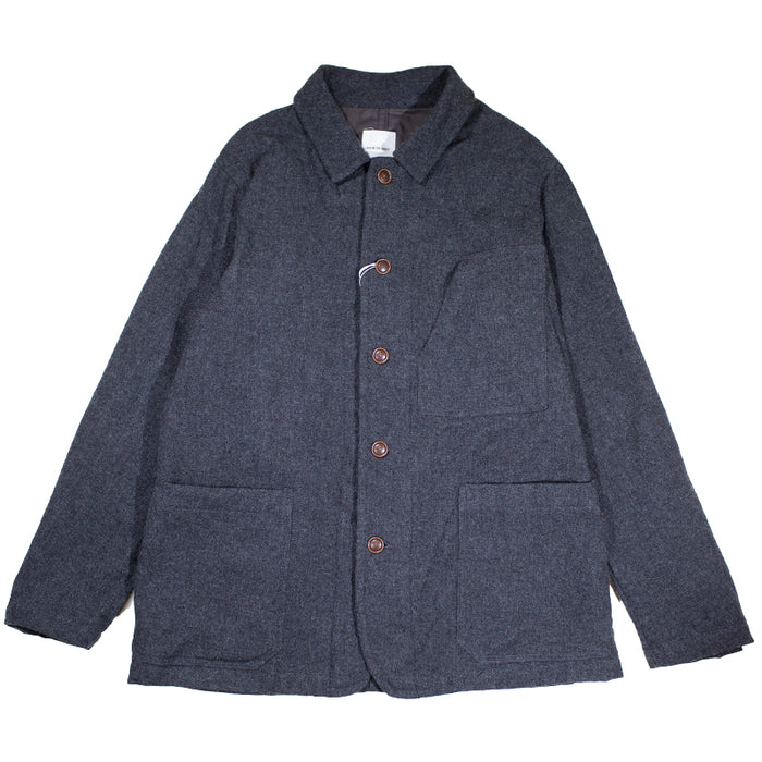 Sage de Cret - Charcoal Grey Washed Wool Flannel Jacket