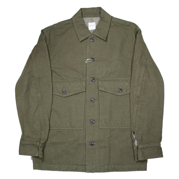 Sage de Cret - Washed olive linen and cotton twill Military jacket in washed olive linen and cotton twill