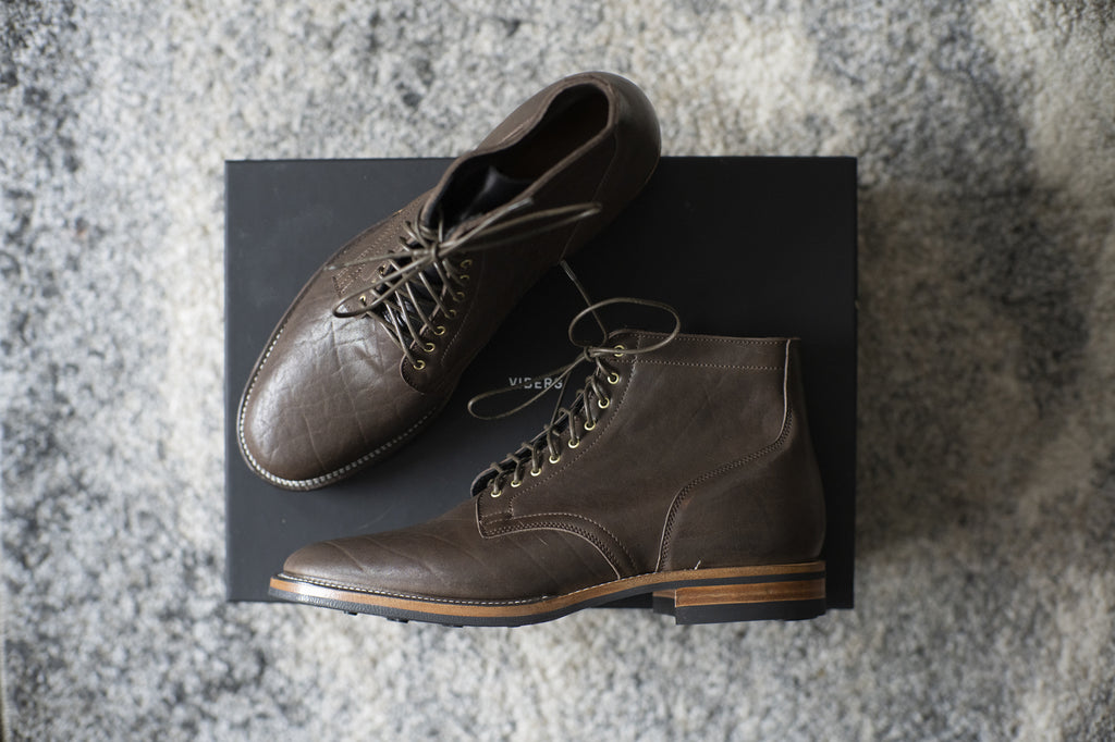 Viberg - Dark Brown Washed Horsehide Service Boot 2030 Last