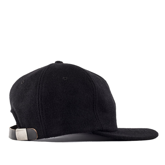 Viberg - Six Panel Black Wool Hat with Shell Cordovan Strap