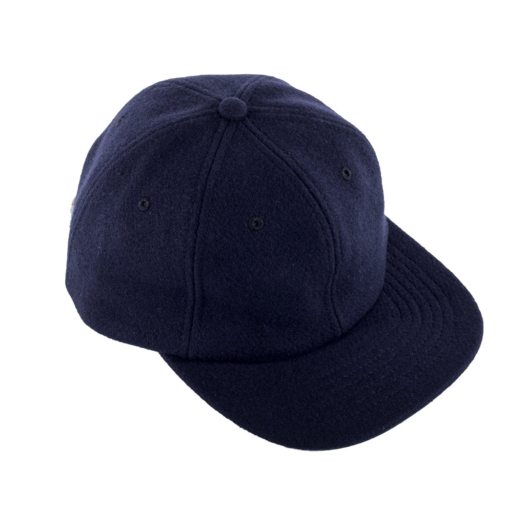 Viberg - Six Panel Navy Wool Hat with Shell Cordovan Strap