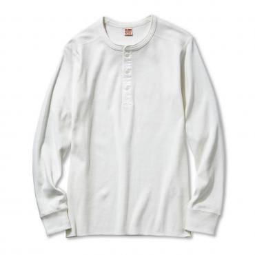 The Real McCoy's - White Union Long Sleeve Henley Shirt