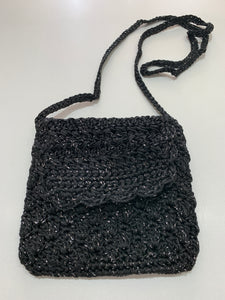Crochet Bag - Small Black Silver