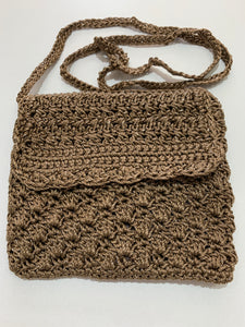 Crochet Bag - Small Brown Silver