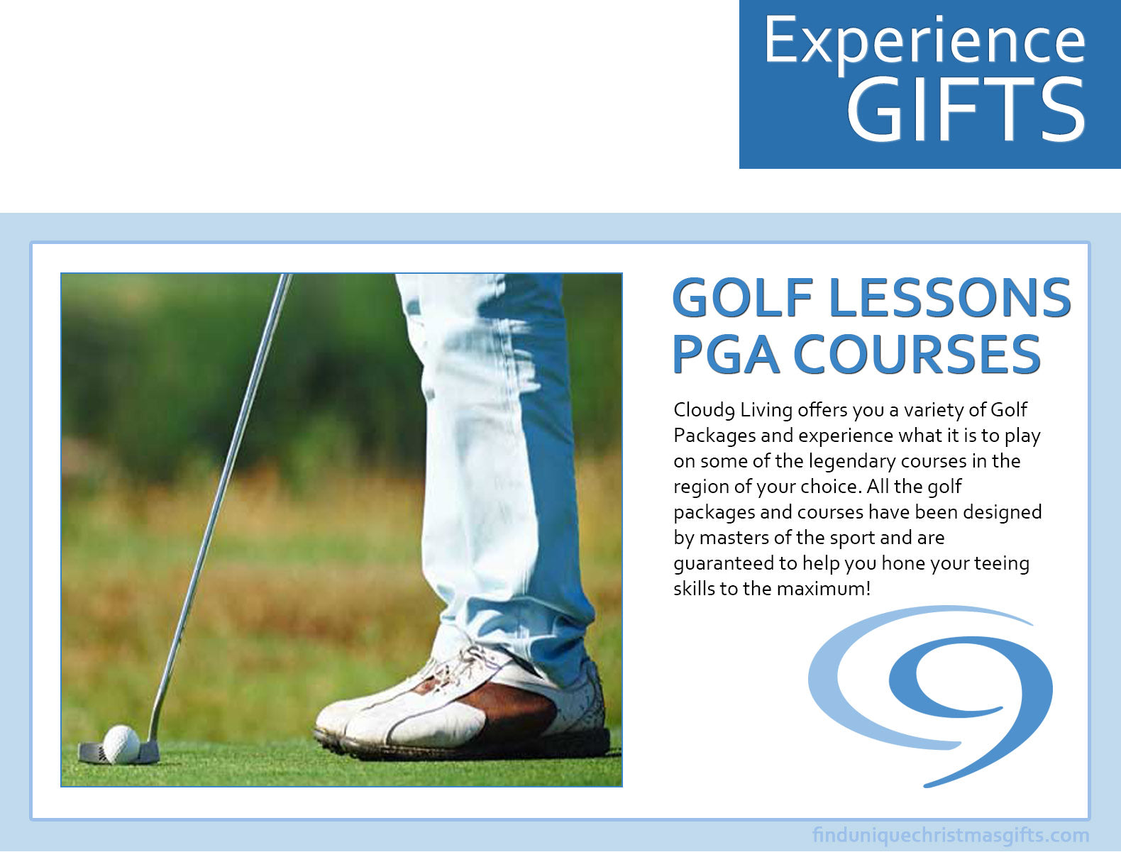 Golf Lessons & PGA Courses - Experience Gifts Cloud 9 Living - Find ...